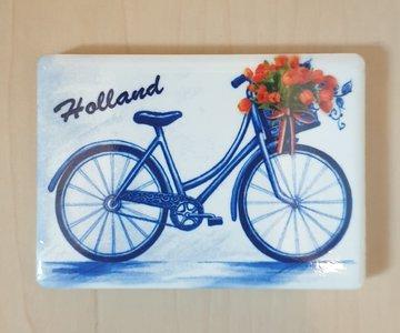 Magneet Delfts-Blauwe fiets mandje